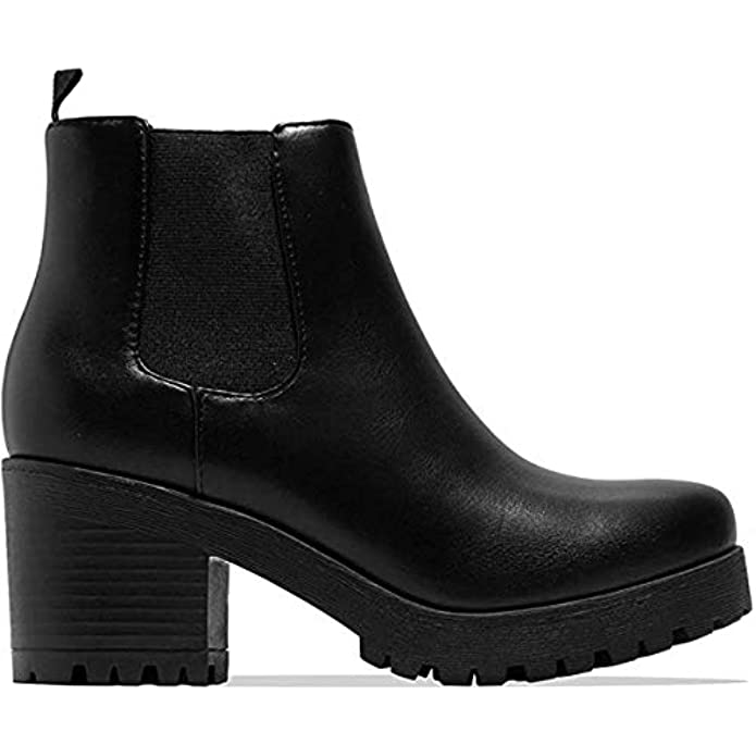 Soda Top Shoes Jaber Ankle Boot w/Lug Sole Elastic Gore and Chunky Heel