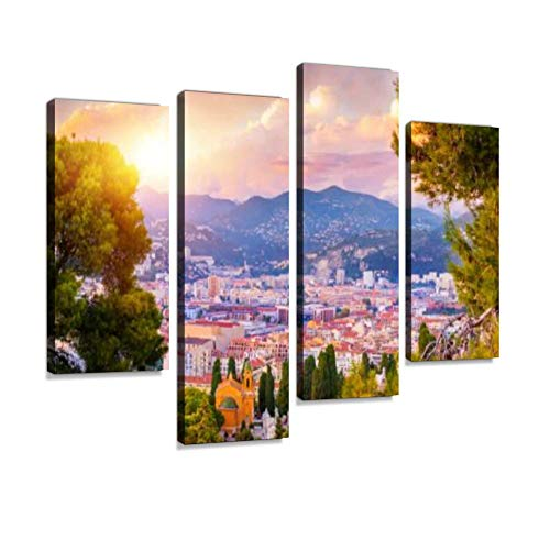 (Sunset Aerial View of Nice, Cote d'Azur, French Riviera, France Canvas Wall Art Hanging Paintings Modern Artwork Abstract Picture Prints Home Decoration Gift Unique Designed Framed 4 Panel)