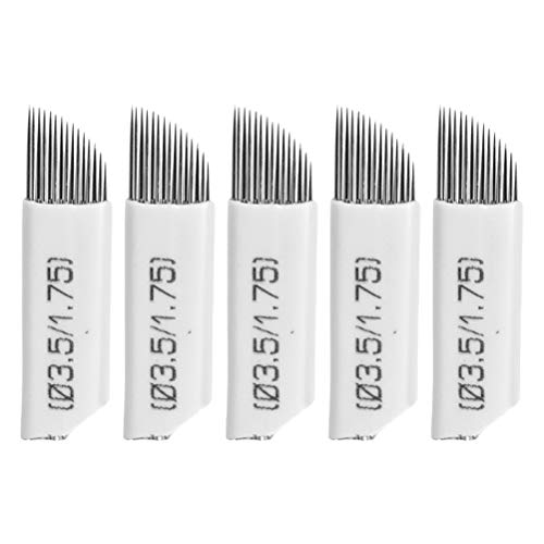 SUPVOX 50pcs Microblading Needles 15 pins Permanent Makeup Eyebrows Tattoo Needles Blades (White)
