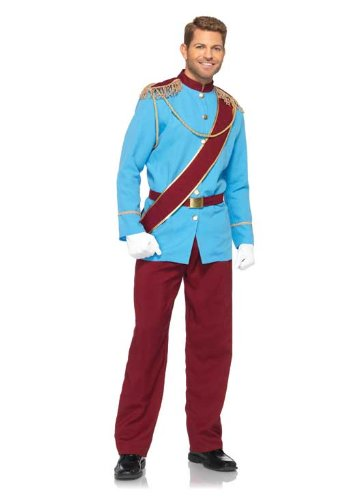 Leg Avenue Disney 4Pc. Prince Charming Costume Jacket with Fringed Epaulettes Sash Belt Pants, Blue/Burgundy, Medium