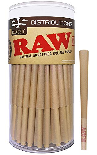 RAW Cones Classic Lean Size | 100 Pack | Natural Pre Rolled Rolling Paper with Tips & Packing Sticks Included