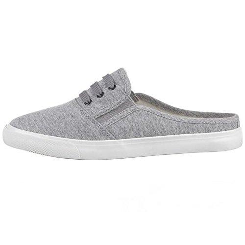 SUNAVY - Zapatillas de estar por casa de lino para mujer gris