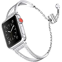 Secbolt Bling Bands Compatible Apple Watch Band 42mm 44mm Iwatch Series 4/3/2/1, Women Stainless Steel Metal Dress Jewelry Bracelet Bangle Wristband, Silver