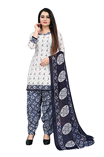 MALAEY Women's Polyester Unstitched Salwar Suit Dress Material for Girls ll Floral Print ll Off-White Color