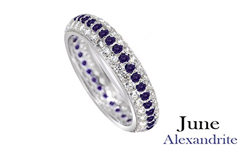Jewel Zone US Round Cut Purple Simulated Alexandrite Eternity Ring In 14K White Gold Over Sterling Silver Round Vvs2 Ring