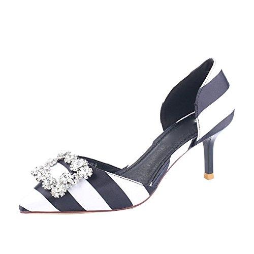 Taladro Agua Cabeza Alto De Moda Sexy Cm Tacon Aire De Medio De Puntiaguda Zapatos Lado Zapatos Colorear Delgado KPHY Verano 7 Zapatos Mujer De para de black 1tBBvR