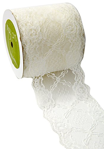 "May Arts Ribbon 515-3-09 3"" Floral Lace with Scalloped Edge, 20 yd, Ivory"