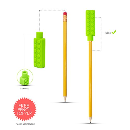 Sensory Necklace (2 PACK + FREE PENCIL TOPPER) - Chewy Necklace - Sensory Chewelry for Kids with Autism ADHD Biting Needs - Chew Toy for Boys and Girls - MORE FIRM by Optimum (Image #6)
