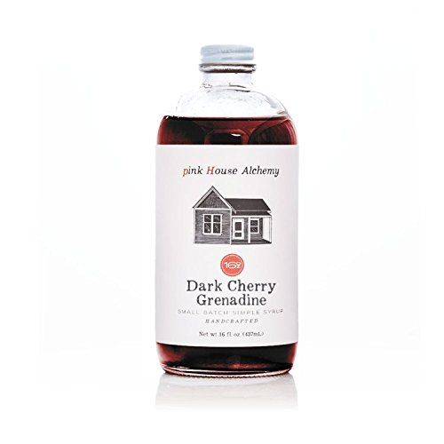 (Pink House Alchemy Dark Cherry - Grenadine Simple Syrup 16 oz Cocktail Drink Mix - Use to Flavor Coffee - Hawaiian Shaved Ice - Dessert Topping - Using Only Fresh Fruit - Free Book See Package (DC 1) )