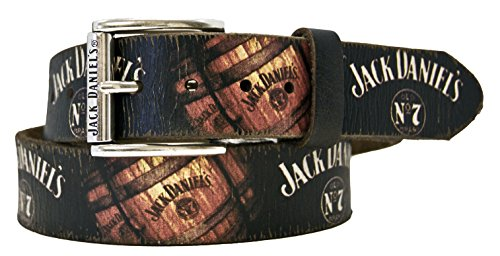 JACK DANIEL'S Barrel & Logo Vintage Screenprint Leather Belt