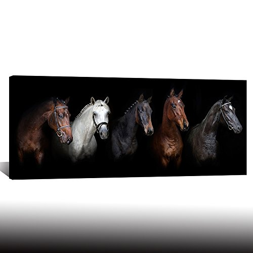 Large Canvas Wall Art Black and White Horse Animal Painting Prints Vintage Horses Giclee Prints Modern Artwork for Home Decor Framed Ready to Hang (Horse Large Framed Print)