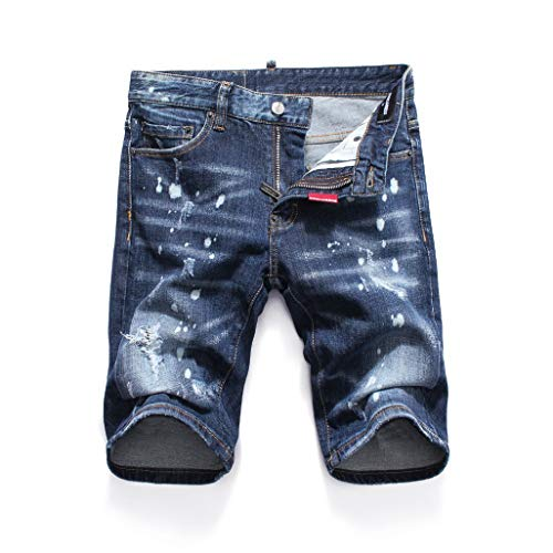(dreamering Summer Style Famous Men Shorts Luxury Zipper Patchwork Blue Hole Denim Trousers Jeans Pants(30,Aspicture))