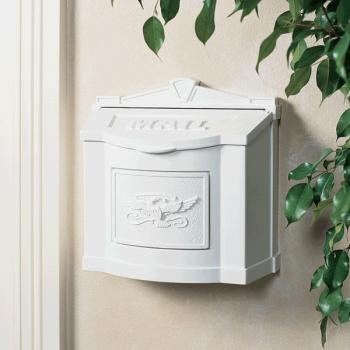 (Gaines Mailboxes WM-11 Eagle Wall Mount Mailboxes: White Finish with White Emblem)