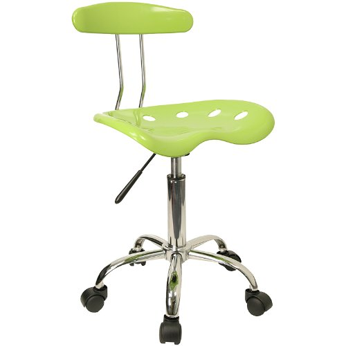 Flash Furniture Vibrant Apple Green and Chrome Swivel Task Chair with Tractor Seat