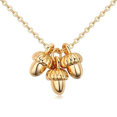 Sun Devils 10k Gold Pendant (Daesar Gold Plated Women's 3 Pine nuts Cubic Zirconia Pendant Necklace for Women)