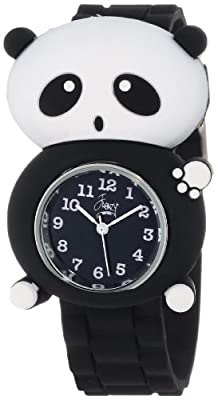 Frenzy Kids' FR2001 Panda Critter Face With Black Rubber Band Watch
