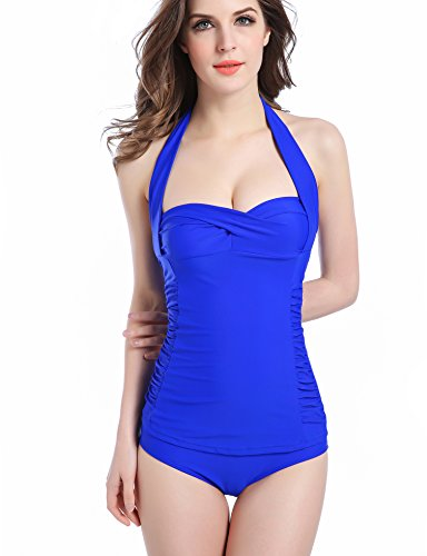 Saslax 50s Inspired Retro Floral Vintage One Piece Pin up Monokinis Swimsuit (XXL=US10-12, Royal Blue)