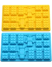 Minifigure Multi Building Bricks Ice Cube Trays & Candy Chocolate Molds for Melted Chocolate & Crayons - Birthday Day or Party Favors - Set of 2, Much Fun for Robot Lovers(Blue & Yellow)