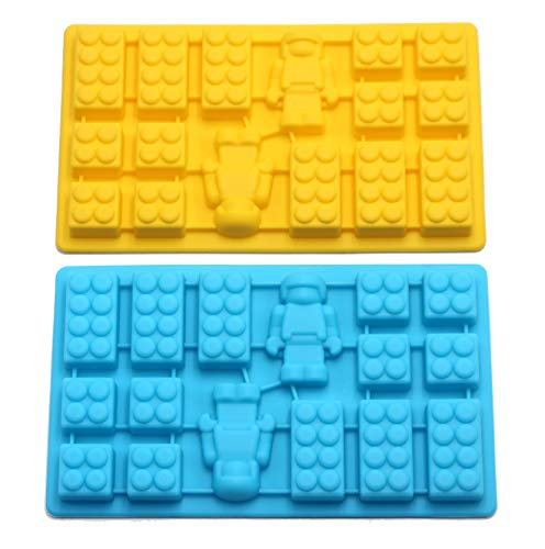 Lego Figure Multi Building Bricks Ice Cube Trays & Candy Chocolate Molds for Melted Chocolate & Crayons - Birthday Day or Party Favors - Set of 2, Much Fun for Lego Lovers(Blue & Yellow)