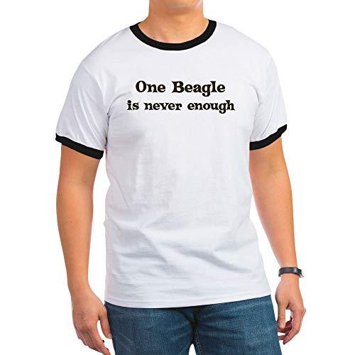 CafePress One Beagle Ringer T-Shirt, 100% Cotton Ringed T-Shirt, Vintage Shirt Black/White