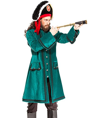 Pirate Medieval Renaissance Captain Booth Coat Jacket Costume [C1410] (Large) (Pirate Costume Jacket)