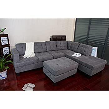 Merax Sofa 3 Piece Sectional Sofa With Chaise And Ottoman,Gray Part 72