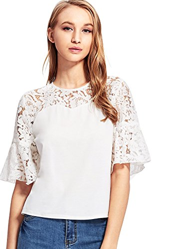 - Milumia Women's Elegant Half Sleeve Contrast Lace Button Yoke Short Blouse Large White