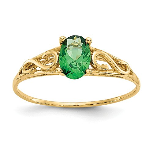 14K Yellow Gold Madi K Synthetic Emerald Ring