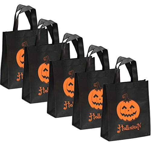 Halloween Trick or Treat Candy Bag, Reusable Grocery Non Woven Goodie Totes Baggies Party Favor Bags (5 Pack-Black C)
