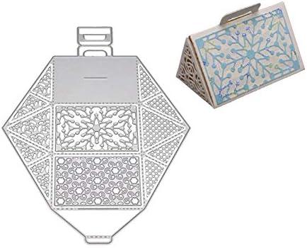 FEIDA - Troqueles de corte, caja de regalo de copo de nieve, troquelado de metal, para manualidades, álbum de recortes, tarjetas, decoración – plata