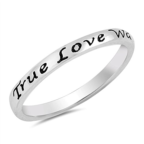 (True Love Waits Heart Script Ring .925 Sterling Silver Promise Band Size 7)