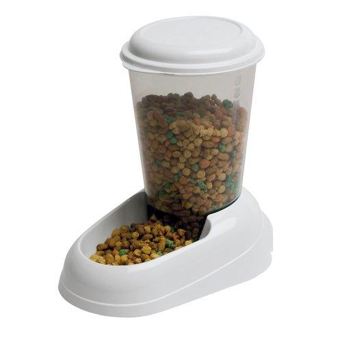 Ferplast Trockenfutter-Spender für Hunde und Katzen Zenith Praktischer Spender Futter-Spender für Tiere, durchsichtiger Behälter mit Deckel, rutschfester Boden