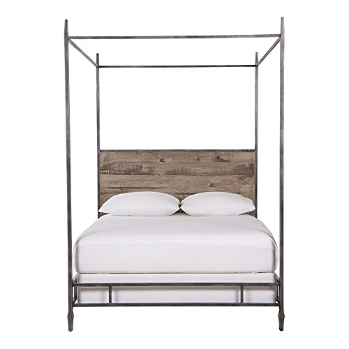 Oak 4 Bed Poster (Ethan Allen Lincoln Metal and Oak Four Poster Bed, California King, Silverado)