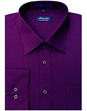 Men's Classic Dress Shirt Convertible Cuff Solid