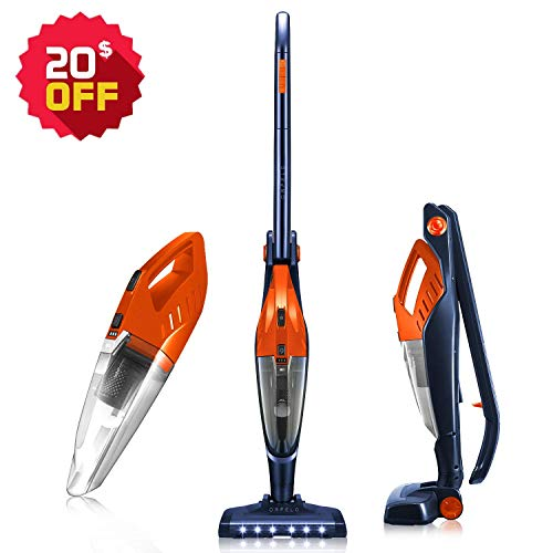 Orfeld Cordless Vacuum Cleaner, Stick Vacuum 2 in 1, Lightweight Bagless Vacuum with Ultra Wide LED Motor Brush, Hepa Filter, Rechargeable Li-ion Battery, up to 40 Minutes' Runtime, for Home and Car (In 2 1 Vaccuum)