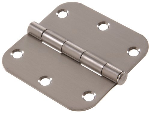 The Hillman Group 852618 3-1/2 Stainless Steel Residential Door Hinge - 5/8 Round Corner - Removable Pin - Full Mortise 1-Pack (2)