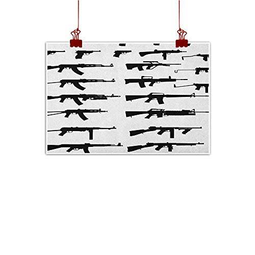 Outdoor Nature Inspiration Poster Wilderness Military,Silhouette of Various Size Guns Weapons Pistols Revolvers War Army Power Concept,Black White 48