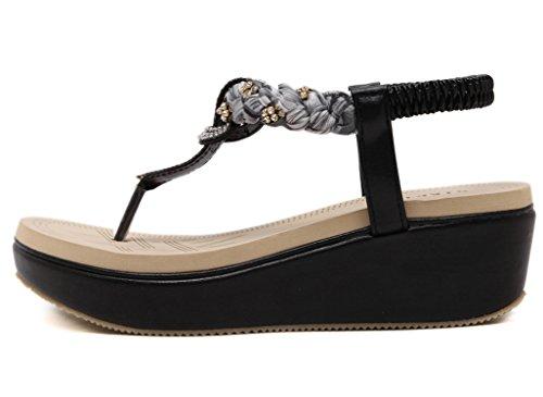 DQQ Women's Flower Platform Thong Wedge Sandals Black(beads Vamp) E19lKMx