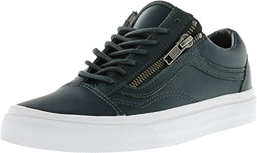 Vans Old Skool Zip Argento Antico Ankle-high In Pelle Da Skateboard Con Ganci Verdi