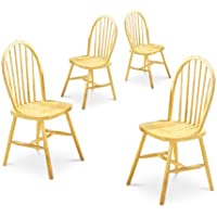 4 Light Honey Oak Spindle Back Wood Dining Chairs
