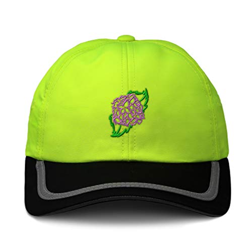 Speedy Pros Reflective Running Hat Plants Hydrangea Flower Embroidery Polyester Soft Neon Hunting Baseball Cap One Size Neon Yellow/Black Design Only