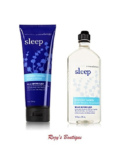 - Bath and Body Works - Aromatherapy -Enhances Sleep -LAVENDER VANILLA - Body Wash & Foam Bath and Body Cream - Bundle