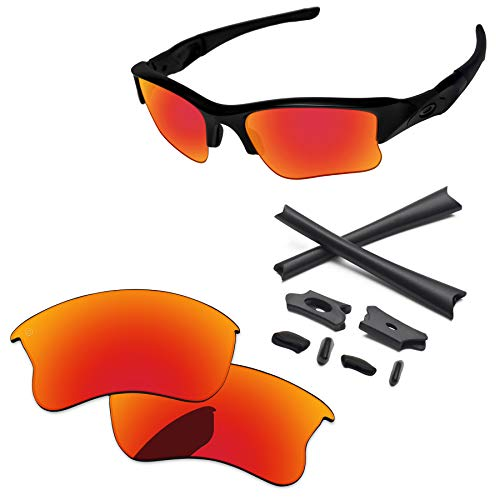 PapaViva Lenses Replacement & Rubber Kits for Oakley Flak Jacket XLJ Pro+ Fire Red ()