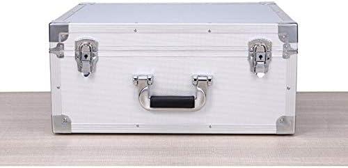 ポータブルアルミ合金ツールボックスのハードウェアツールボックス大容量の耐衝撃安全設備機器ボックススーツケース (Color : Silver)