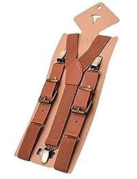 MENDENG Adjustable Suspenders for Men Bronze Metal Clips Braces with Leather