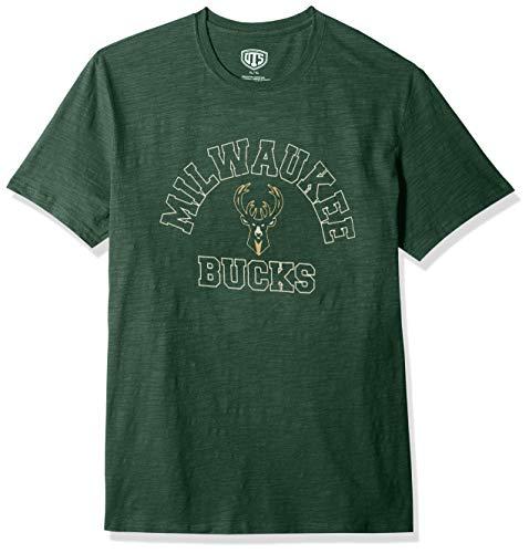 NBA Milwaukee Bucks Men's OTS Slub Distressed Tee, Medium, Dark ()
