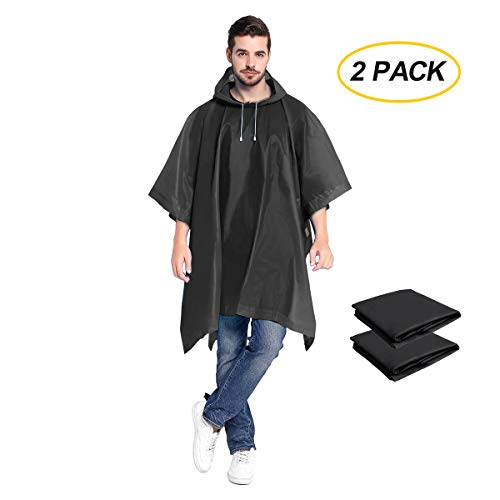ANTVEE Rain Ponchos 2 Packs for Adults with Drawstring Hood - Emergency Rain Coat for Theme Park, Hiking, Camping or Traveling (Black)