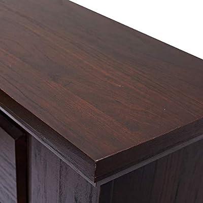 "HOMCOM Freestanding Electric Fireplace Heater with Mantel, Wood, 1400W, 30"" H, Dark Brown"