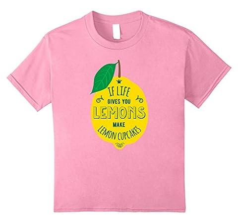 Kids Cute Lemon Tee If Life Gives You Lemons Make Cupcakes Shirt 8 Pink - Pink Cupcake Print