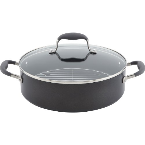 Anolon Advanced Hard Anodized Nonstick 5-1/2-Quart Covered Braiser with Rack. Gray by Anolon